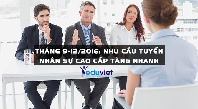 Tháng 9-12/2016: Nhu cầu tuyển nhân sự cao cấp tăng nhanh