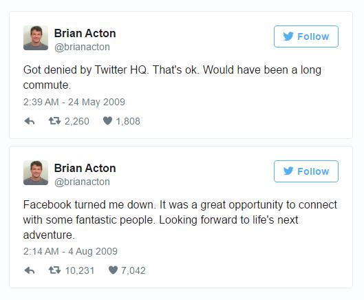 Những dòng tweet của Brian Actor về việc bị Twitter và Facebook từ chối nhận vào làm