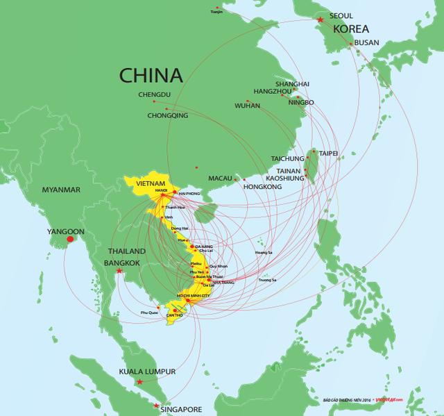 Mạng lưới đường bay hiện tại của Vietjet