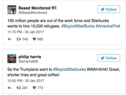 - 100 triệu người Mỹ đang thất nghiệp và Starbucks lại muốn tuyển thêm 10.000 kẻ tỵ nạn. #TaychayStarbuck #UutiennguoiMy  - Những người ủng hộ Trump muốn #TaychayStarbuck! Tuyệt, cà phê ngon và hàng người chờ đợi sẽ ngắn hơn.
