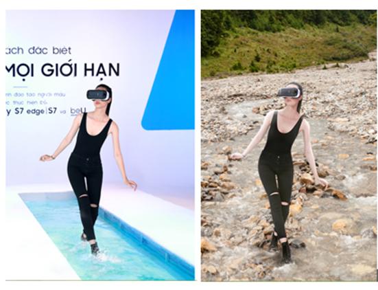 Học viên có cảm giác đang tập luyện đi catwalk tại một dòng suối gập ghềnh nhưng thực tế vẫn đang ở trong nhà  (Nguồn: www.kenh14.vn)